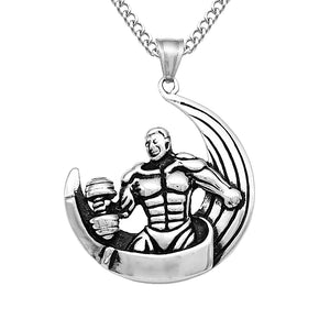 Silver Stainless Steel Muscle Men Sports Gym Dumbbells Weight Lifting Moon Pendant Necklace Hippy Biker Jewelry