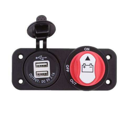 Image of Car 50A Battery Disconnect Rotary Isolator Switch and Dual 5V 3.1A USB Ports