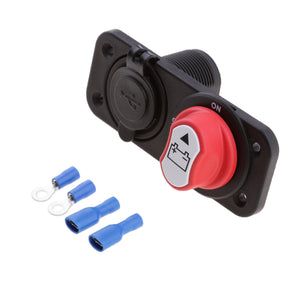 Car 50A Battery Disconnect Rotary Isolator Switch and Dual 5V 3.1A USB Ports