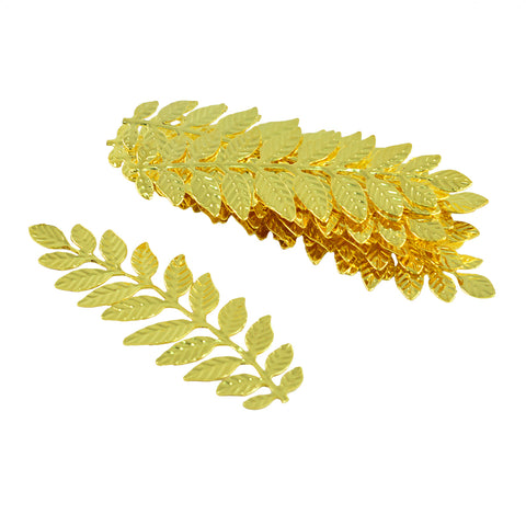 Image of 12 Pieces Filigree Leaf Branch Charm Pendant Jewelry Making Findings Gold