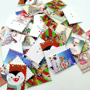 50 Pieces Printed Christmas Stamps Shape Wooden Buttons for DIY Sewing Clothing Decoration Kids Crafts