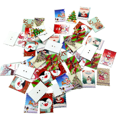 Image of 50 Pieces Printed Christmas Stamps Shape Wooden Buttons for DIY Sewing Clothing Decoration Kids Crafts