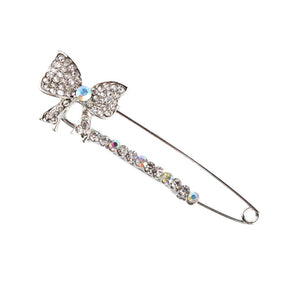 Shiny Rhinestones Bowknot Safety Pin Brooch Bow Pins Brooch Tie For Women Dress Crystals Elegant Collar Lapel Pin Jewelry