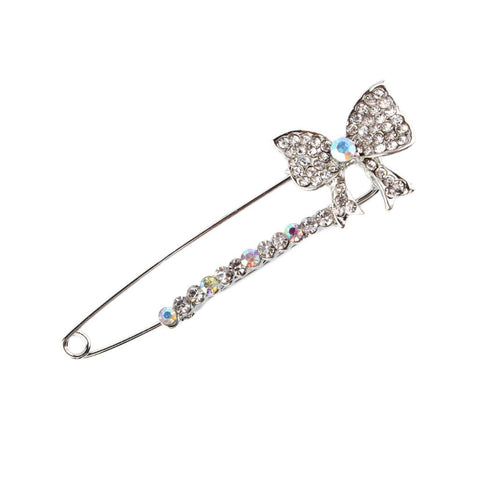 Image of Shiny Rhinestones Bowknot Safety Pin Brooch Bow Pins Brooch Tie For Women Dress Crystals Elegant Collar Lapel Pin Jewelry