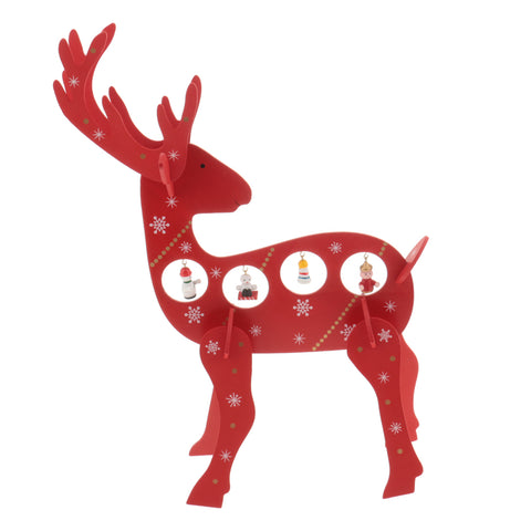Image of 1 Set Wooden Christmas Reindeer Elk Buck Deer with Bells Table Ornaments Living Room Home Party Decoration Children Kids Xmas Gifts