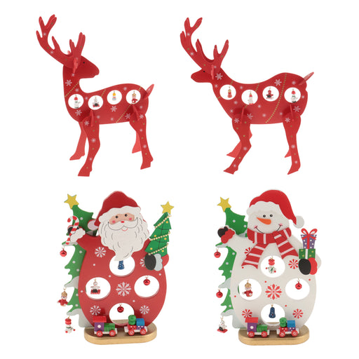 1 Set Wooden Christmas Reindeer Elk Buck Deer with Bells Table Ornaments Living Room Home Party Decoration Children Kids Xmas Gifts