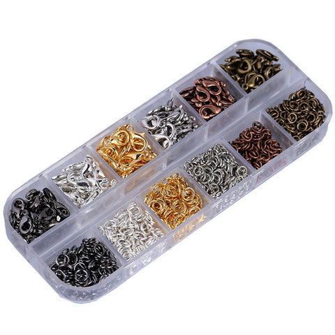 Image of Lots Colored Jewelry Findings Kit 12mm Lobster Clasps and 5mm Jump Rings for Jewelry Charms Making Accessories in Clear Box