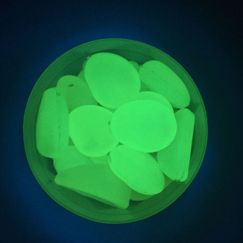 Image of Pack of 100PCS Glow In The Dark Pebbles Stone Fish Tank Aquarium Decor Home Party Garden Yard Decor Ornaments Sky Blue