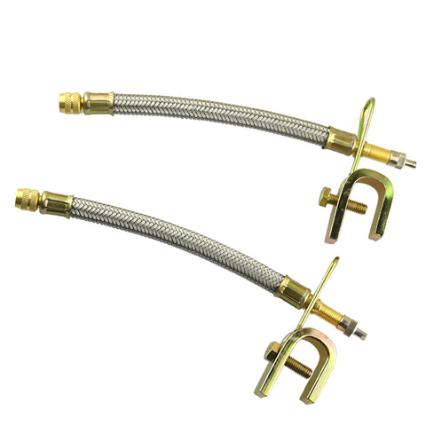 Image of 2 Pieces Dual Wheel Valve Stem Extender Extention 7'' Stainless Steel Flexible Braided Hoses with Iron clip