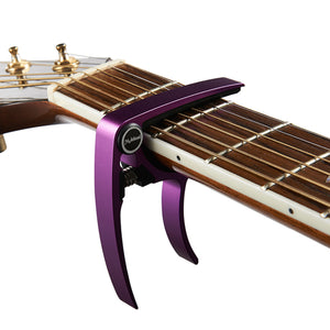 MC20 Aluminium Alloy Acoustic Folk Guitars Capo Tuner Trigger Quick Change Clamp Key Purple