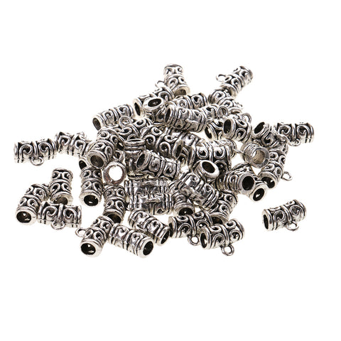 Pack of 50 Antique Silver Spacer Bail Beads Tube Charms Pendants Jewelry Making