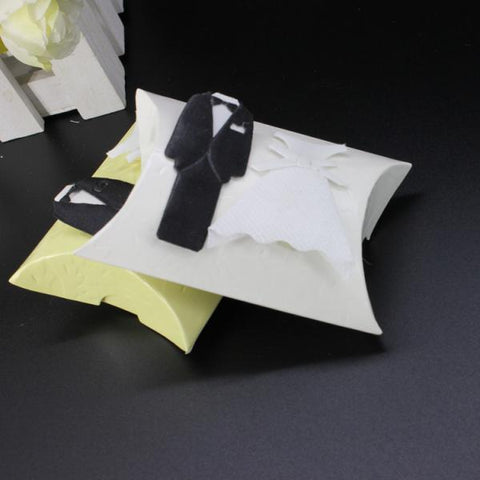 Image of Bride Groom Dress Tuxedo & Gown Pillow Wedding Reception Favor Candy Gift Box Pack of 50Pcs