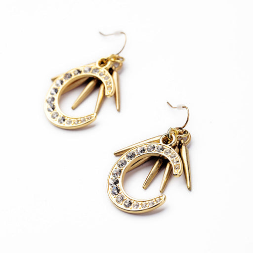 Pair of Gold Alloy with Rhinestone Moon Drop Earrings for Women Girls