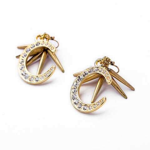 Image of Pair of Gold Alloy with Rhinestone Moon Drop Earrings for Women Girls