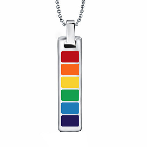 Image of Rectangle LGBT Gay Pride Rainbow Pendant Necklace Transgender Transexual Jewelry