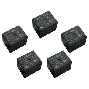 5 Pieces 24V DC Mini Power Relay SPDT 10A PCB Mount with 5 Pins HY3FF-DC24V