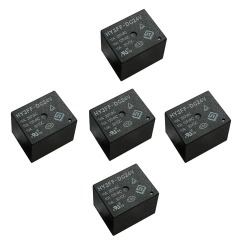 Image of 5 Pieces 24V DC Mini Power Relay SPDT 10A PCB Mount with 5 Pins HY3FF-DC24V