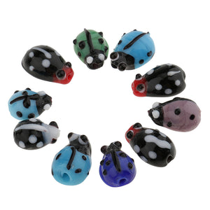 10 Pieces Glass Spacer Loose Ladybug Beads Colored fit Bracelet Earring Pendant Jewelry Charms Making