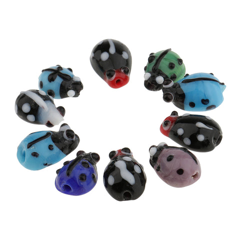 Image of 10 Pieces Glass Spacer Loose Ladybug Beads Colored fit Bracelet Earring Pendant Jewelry Charms Making