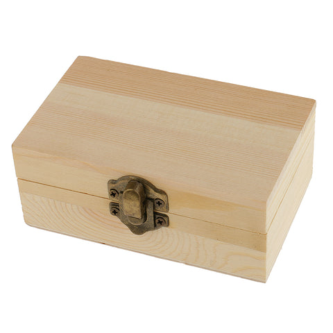 Image of Blank Rectangle Unfinished Wooden Jewelry Gift Box for Kid DIY Craft Supplies 11x6.9cm