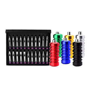 22Pcs/Box Stainless Steel Tattoo Tips Nozzles Set with 6Pcs Aluminum Ribbed Grips
