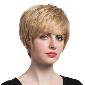 "HEAT RESISTANT Gold Women 12"" Short Layered Coloured 100 % Human Hair Wigs with Cap for Cosplay Costume Party or Daily Wear"