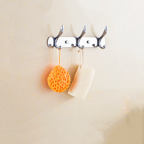 Image of 3 Hooks Coat Hat Towel Robe Holder Rack Wall Mount Hanger Home Bedroom kitchen Bathroom Wall Decor Stainless Hook