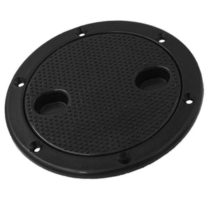 Marine 4 Inch Round Non Slip Inspection Hatch with Detachable Cover Black
