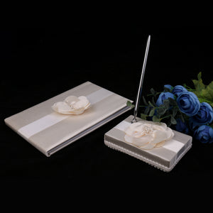 Wedding Satin Flower Guest Book Guest Register Comment Book Pen & Holder