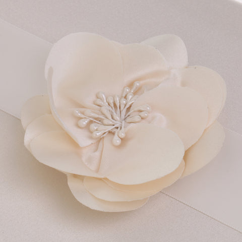 Image of Wedding Satin Flower Guest Book Guest Register Comment Book Pen & Holder