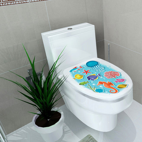 Image of Removable Toilet Seat Wall Sticker Sea World Vinyl Art Bathroom Decor