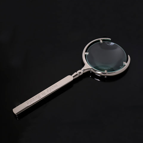 Image of Vintage Handheld 8X Magnifier Glass Loupe MADE IN RUSSIA Carved Silver Tone