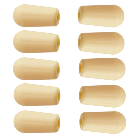 Image of 10 Pieces Plastic Electric Guitar Switches Knobs Cap Musical Instrument Parts Beige