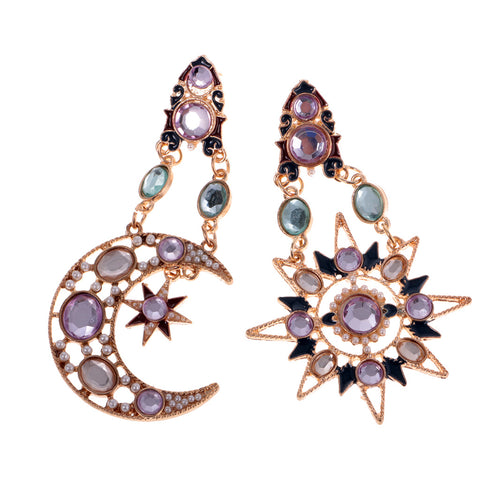 Image of Fashion Jewerly Bling Hollow Chunky Earrings Stud Sun And Moon Rhinestone