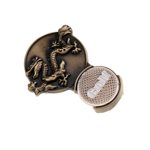Image of Zodiac Dragon Magnetic Hat Clip Golf Ball Markers Clip On Golf Cap Visor
