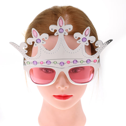 Image of Christmas Carnival Party Sunglasses Photo Booth Princess Queen Crown Plastic Holiday Dress Up Glasses Costume Toy