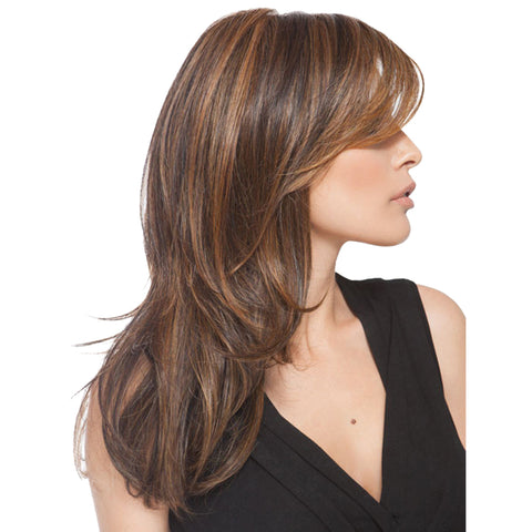 Image of 55cm/20inch Long Layered Synthetic Side Bangs Full Hair Wigs for Lady Daily Wear Mix Brown
