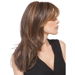 55cm/20inch Long Layered Synthetic Side Bangs Full Hair Wigs for Lady Daily Wear Mix Brown