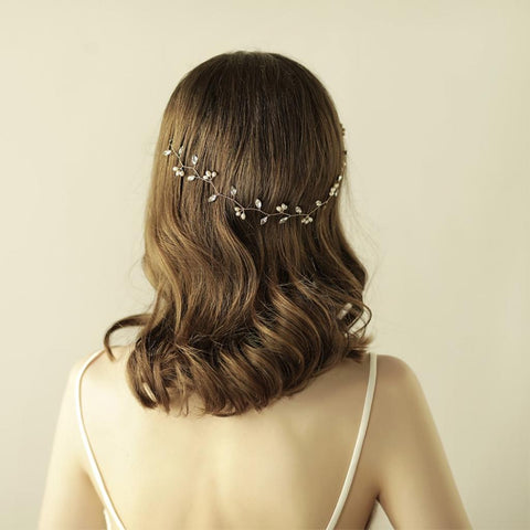 Image of Vintage Faceted Rhinestones Pearls Dangles Headband Wedding Party Headdress