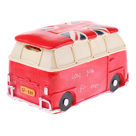 Image of Vintage Bus Money Saving Bank Handcraft Kid Piggy Bank Home Office Decor Red
