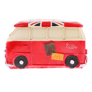 Vintage Bus Money Saving Bank Handcraft Kid Piggy Bank Home Office Decor Red