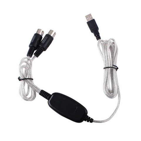 Image of USB IN-OUT MIDI Interface Cable Converter PC To Music Keyboard Adapter Cord Supports for Windows/Mac