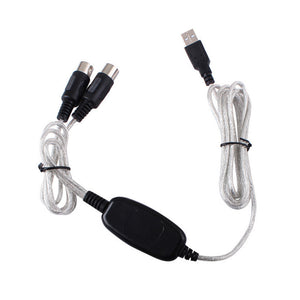 USB IN-OUT MIDI Interface Cable Converter PC To Music Keyboard Adapter Cord Supports for Windows/Mac