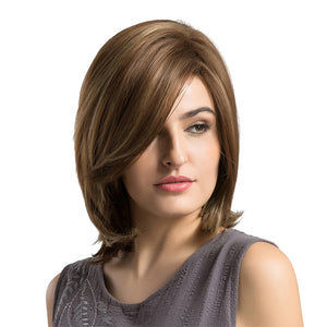 Natural Women Synthetic Hair Wig Short Straight Full Wigs For Cosplay Brown