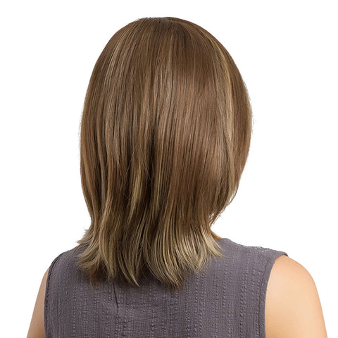 Image of Natural Women Synthetic Hair Wig Short Straight Full Wigs For Cosplay Brown