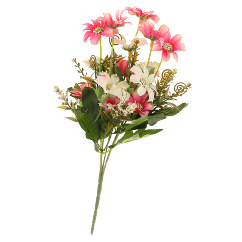 Image of Artificial Realistic Chrysanthemum Bunch Silk Flower Bouquet Wedding Party Garden Plant Decor Ornaments Pink