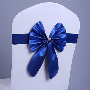 Elastic Sash Band Chair Back Wedding Bowknot Bow Ribbon Decoration for Hotel Restaurant Wedding Party Chair Decor Dark Blue