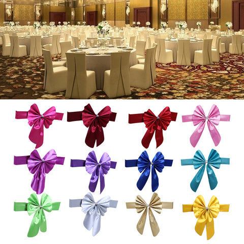 Image of Elastic Sash Band Chair Back Wedding Bowknot Bow Ribbon Decoration for Hotel Restaurant Wedding Party Chair Decor Dark Blue