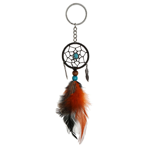 Image of Fashionable Feather Beads Charms Dream Catcher For Home Window Wall Car Hanging Decor Ancient Leaves Hanging Charms