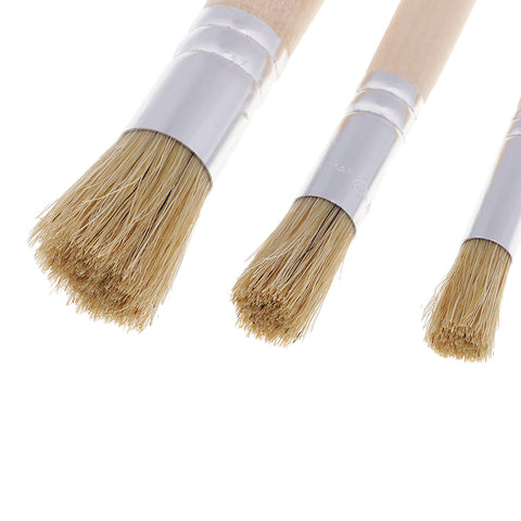 Image of 3 Pieces/set Round Wooden Handle Oil Painting Acrylic Painting Brush Brushes Painting Tools for Kids Children Artist
